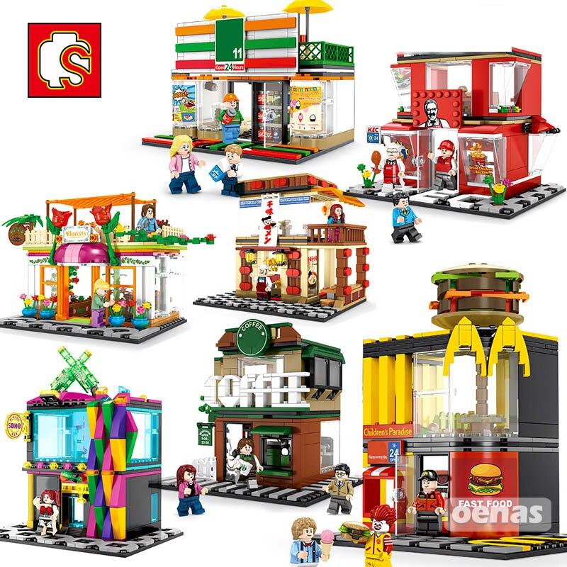 Sembo City Street View coffee Ice cream Burger Shop Mc Fast food Store House Model Building Block Educationanl Toy Birthday Gift